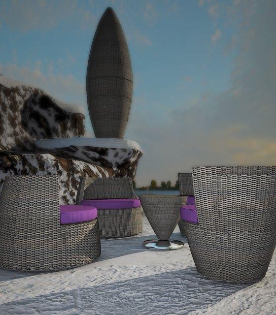 Infografia 3d mobiliario exterior dedon obelisk